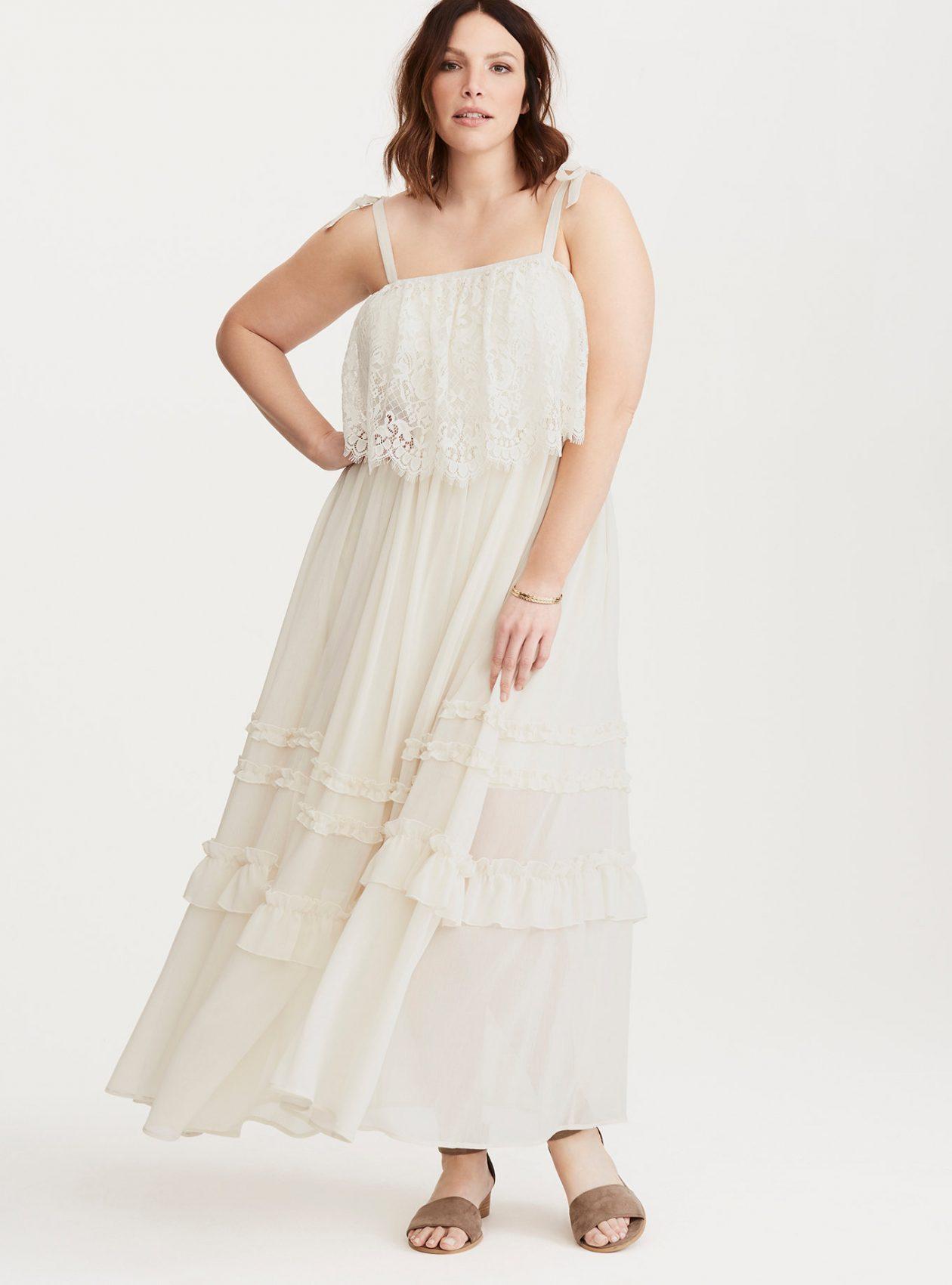 Ruffled Chiffon Lace Maxi Dress at Torrid