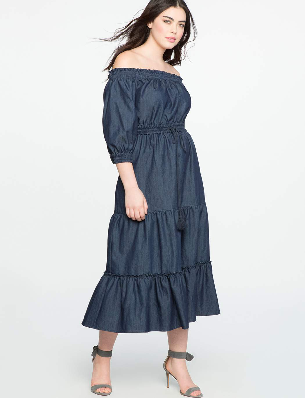 Off the Shoulder Denim Midi Dress