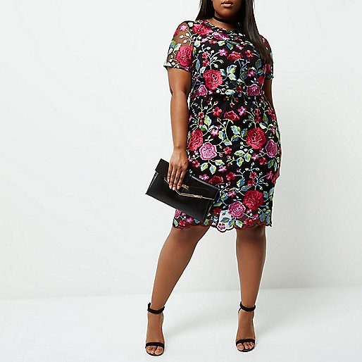 Plus pink floral embroidered midi dress