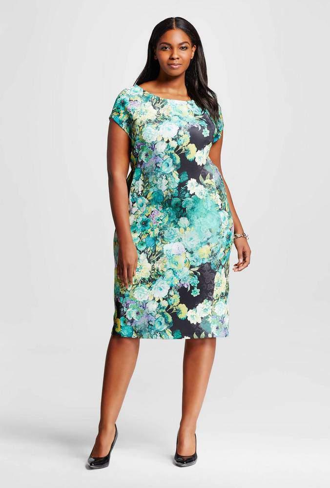 Plus Size Floral Print Scuba Dress