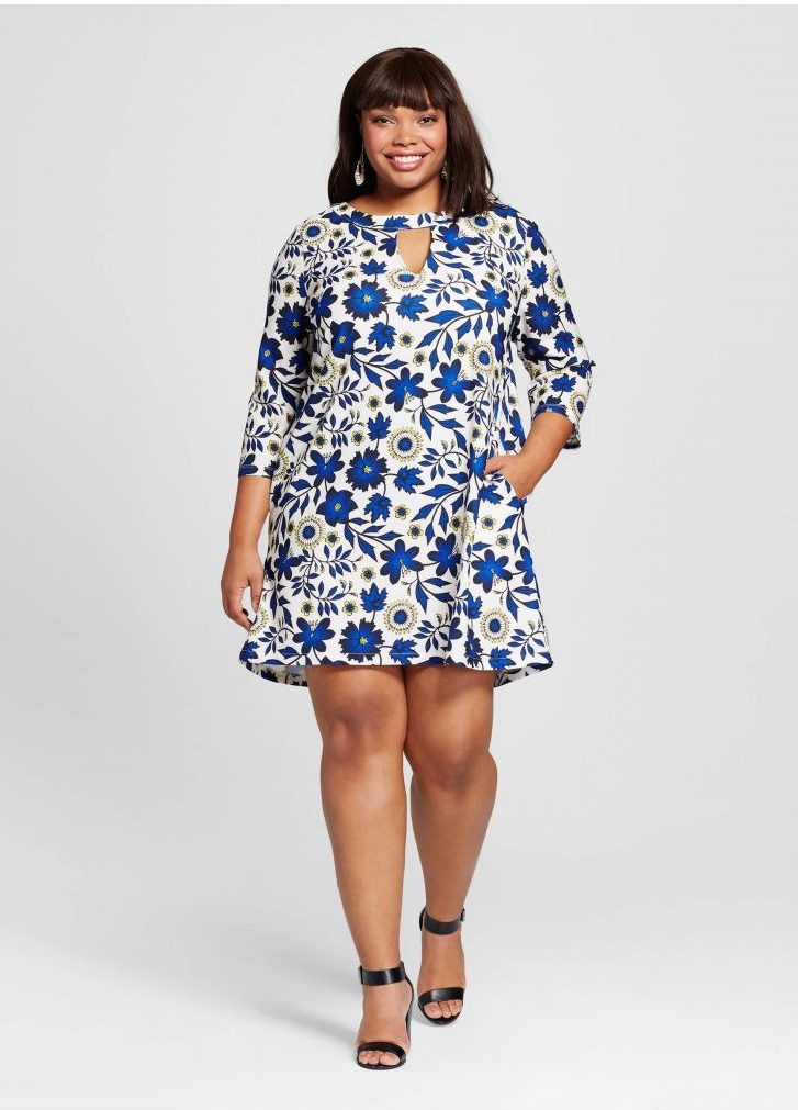 Plus Size Floral Printed Swing Dress Multicolored
