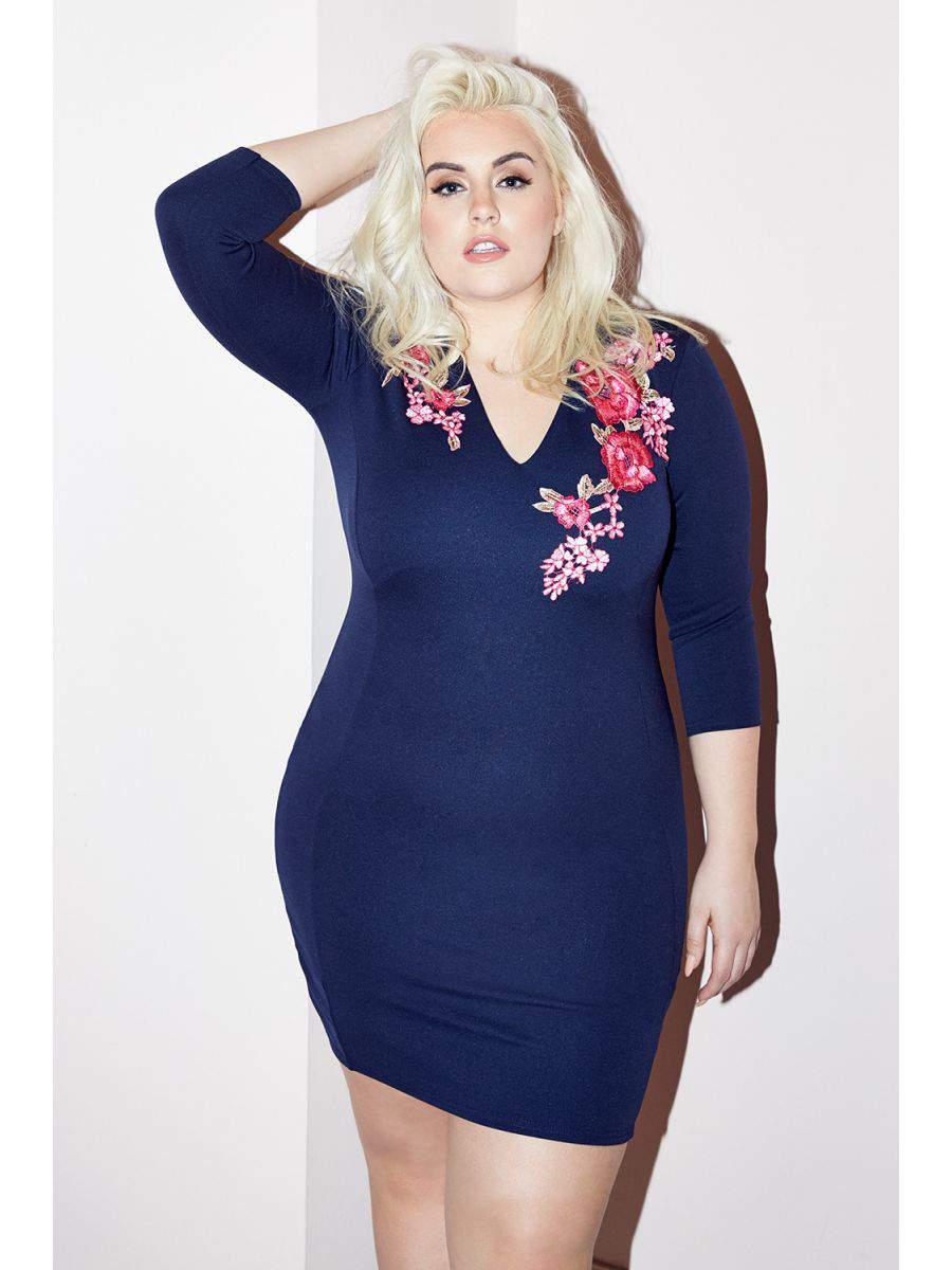 Curve Navy Embroidered V Neck Dress, QUIZ Clothing Plus Size Line, Curve, Felicity Hayward