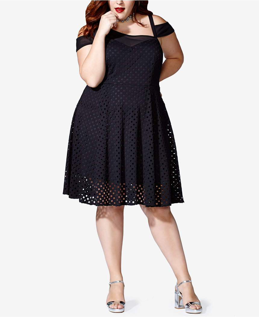 Mblm By Tess Holliday Plus Size Asymmetrical Cold-Shoulder Fit & Flare Dress