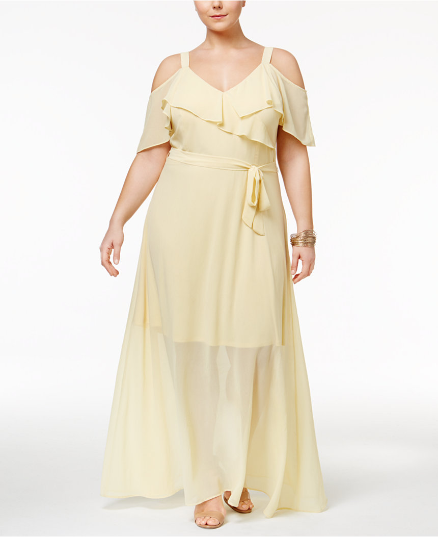 Disney Beauty and the Beast Trendy Plus Size Cold-Shoulder Dress
