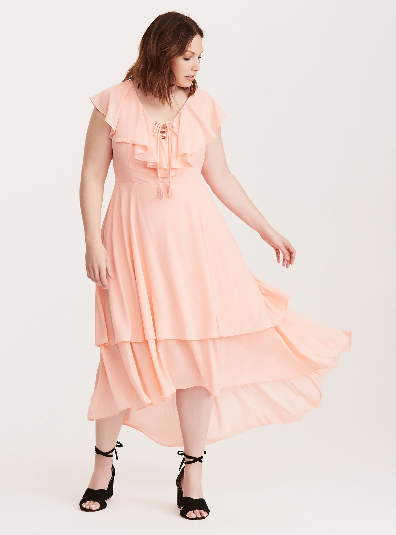 Torrid Insider Lace Up Ruffle Maxi Dress