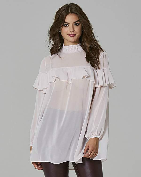 Spring Must Haves From SimplyBe- Plus Size SIMPLY BE HIGH NECK RUFFLE BLOUSE