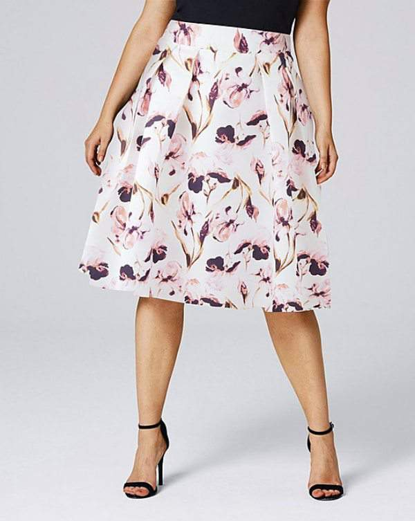 Spring Trends We Love From SimplyBe- Plus Size FLORAL PRINT PROM SKIRT WITH POCKETS