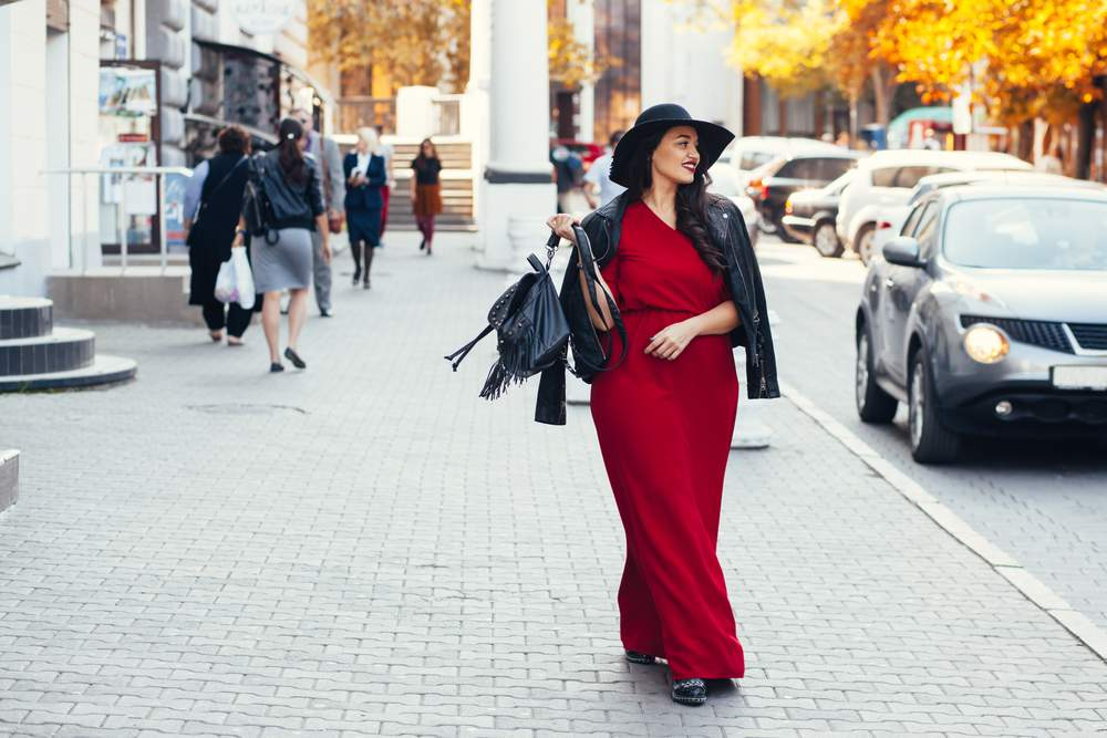 Plus size woman shopping