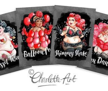 Plus Size Art: Burlesque Beauties by Illustrator Charlotte Thomson Art