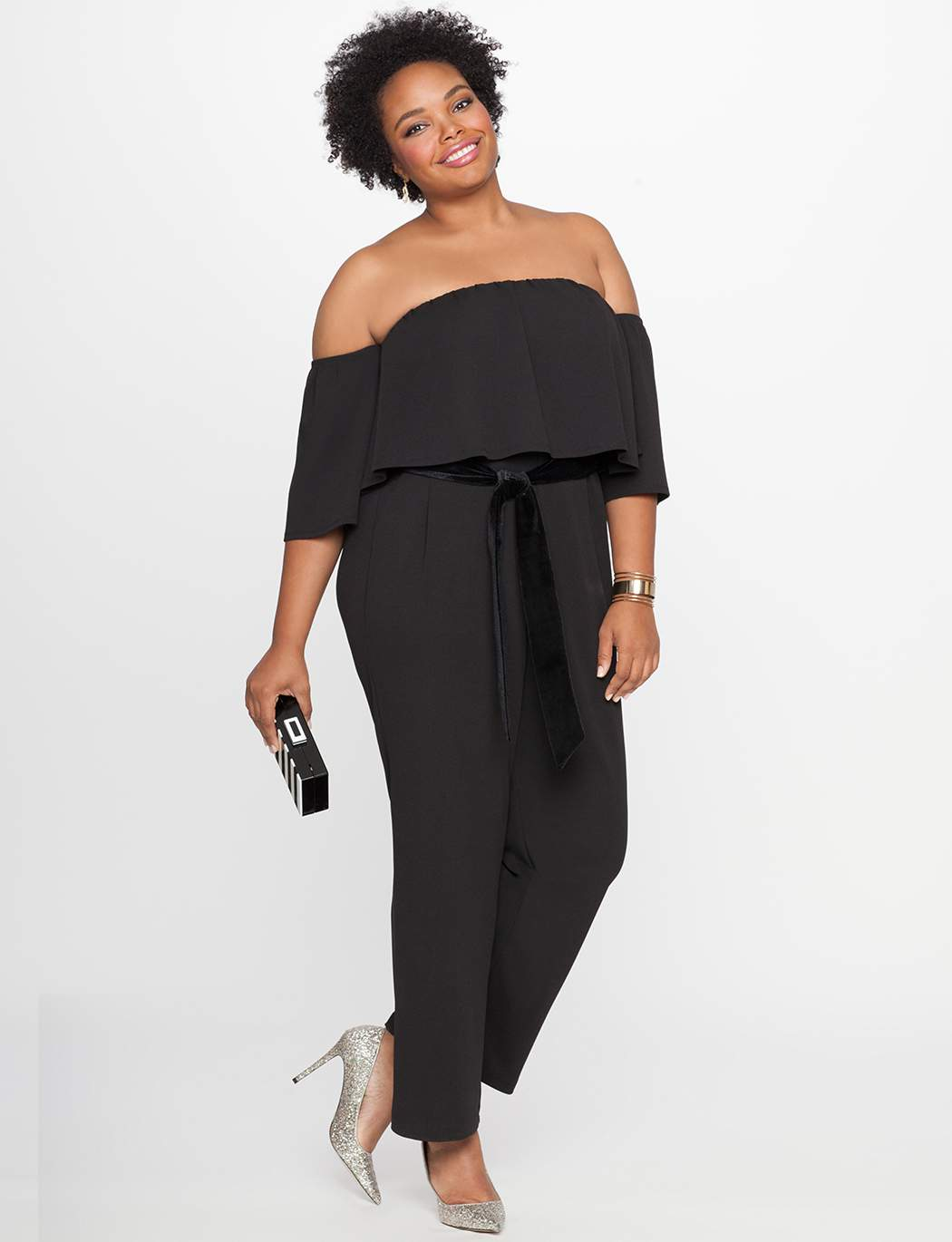 What to Wear to an Evening Wedding- Off the Shoulder Ruffle Overlay Jumpsuit