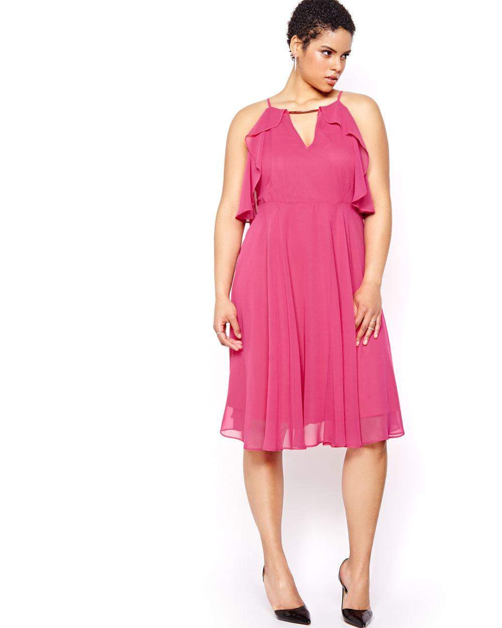 What to Wear to an Evening Wedding- Michel Studio Solid Fit & Flare Dress with Ruffles