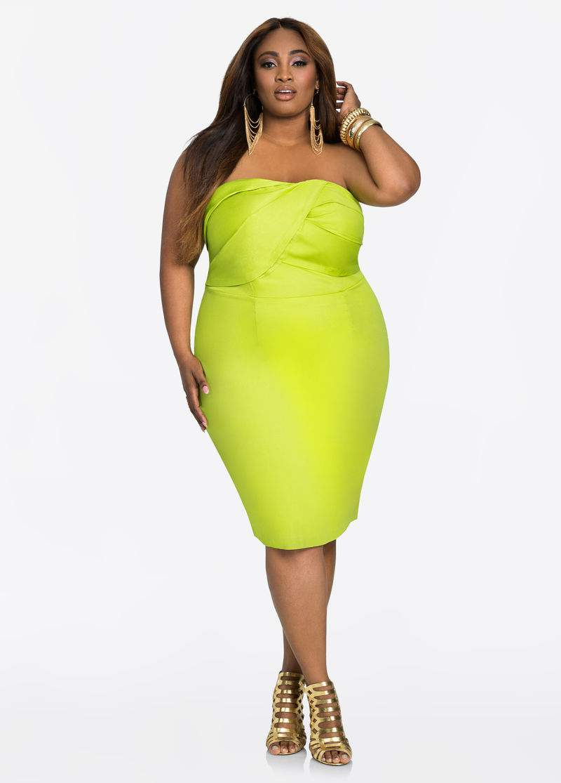 What to Wear to an Evening Wedding- Drape Front Strapless Dress at AshleyStewart