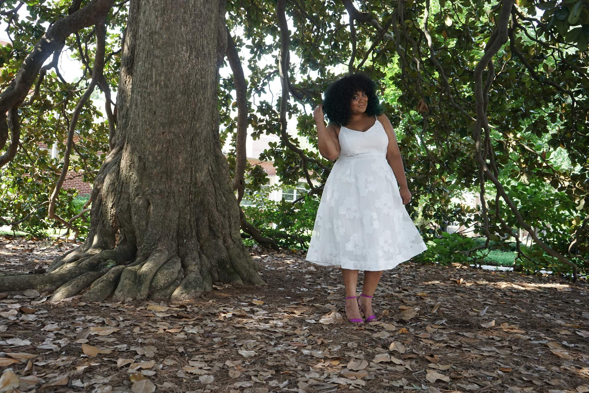 Marie Denee- The Curvy Fashionista in city chic plus size white dress
