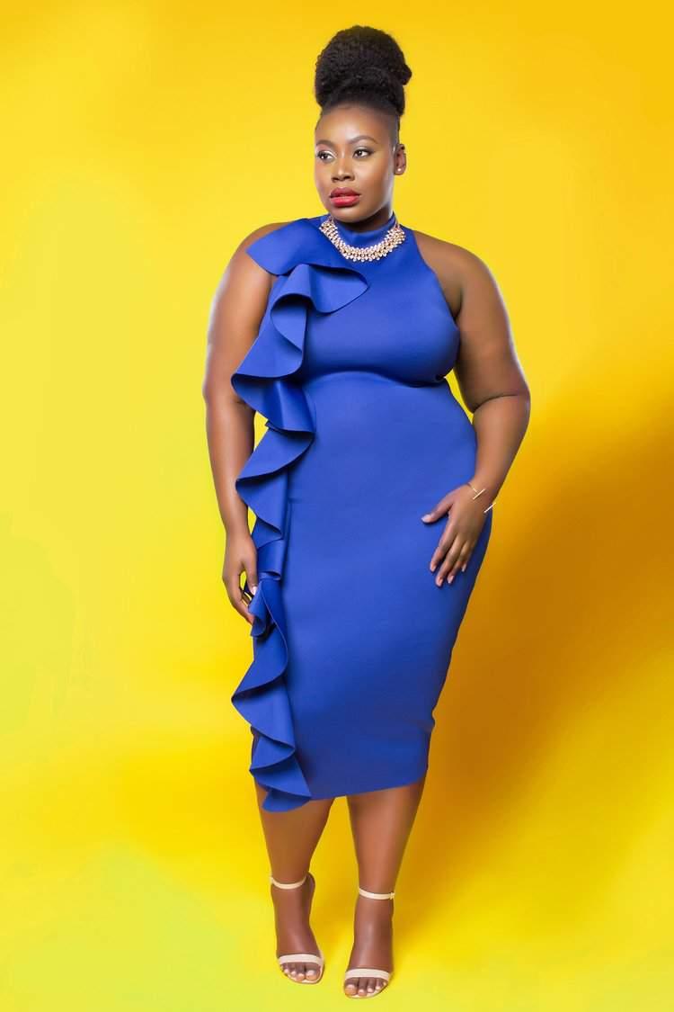 Plus Size Brand Love Creed, royal blue, midi dress. flaunt your curves, plus size fashion, statement piece