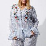 River Island Blue Strip Pajama Suit