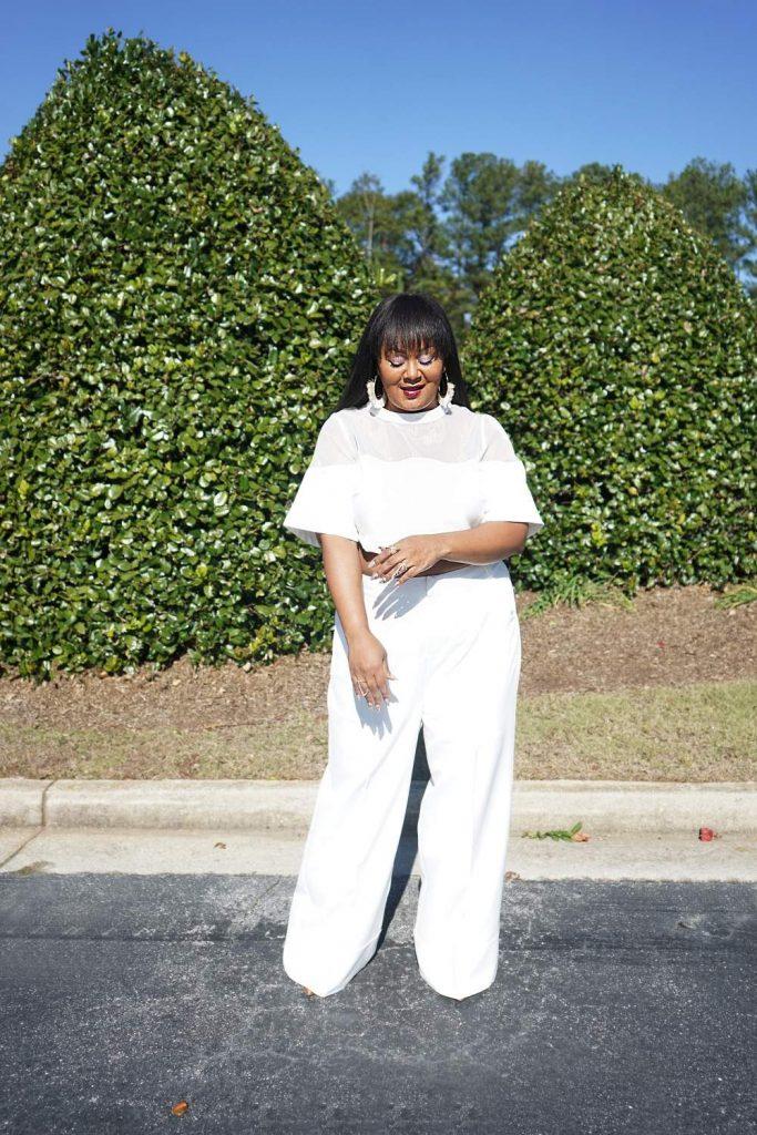 The Curvy Fashionista wears Premme Wide Leg Crop Top Pants set