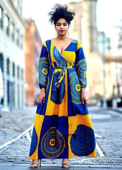 D'iyanu Genet African Print Faux Wrap Maxi Dress