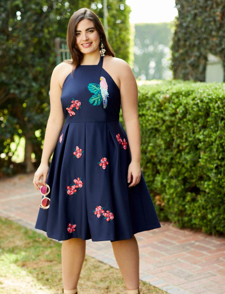 Draper James for ELOQUII Parrot Embellished Dress