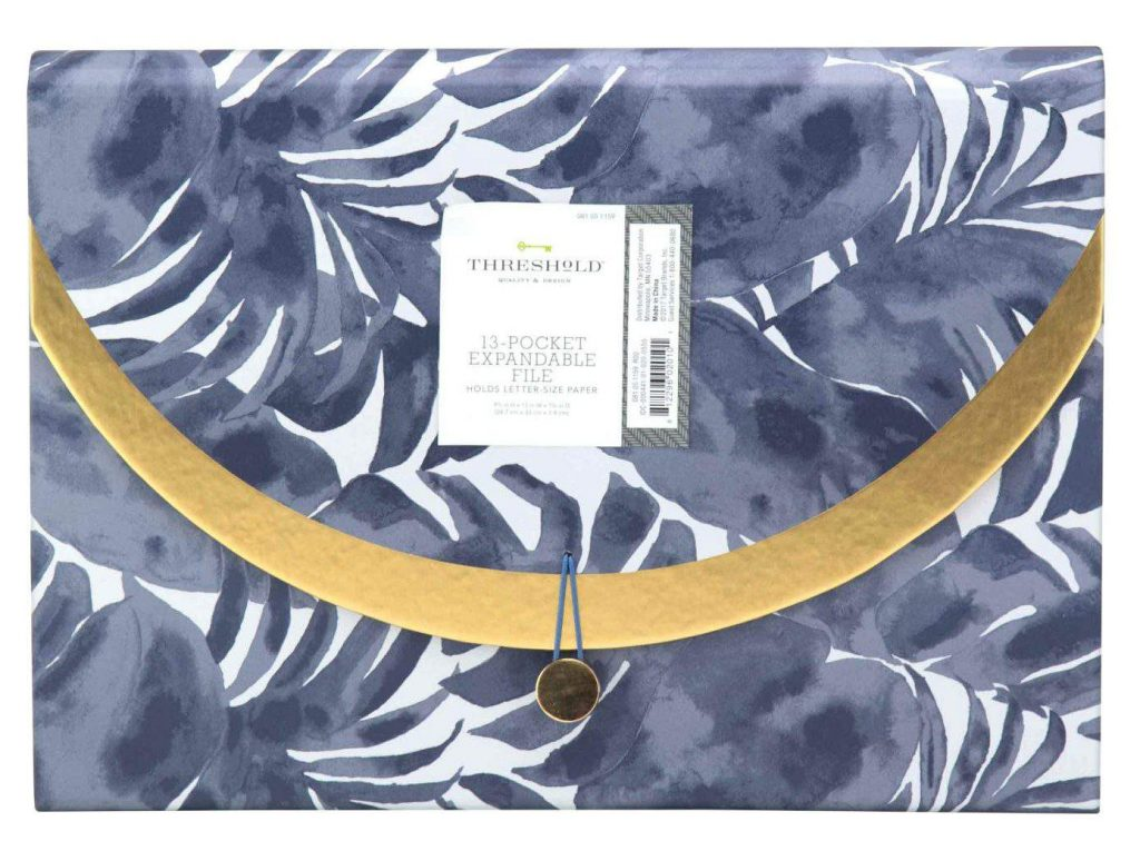 Expandable File Folder, 13pkt, Blue Palm and Gold - Threshold