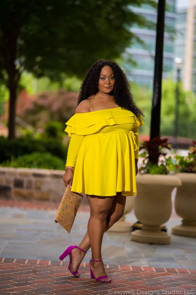 Marie Denee in Yellow Plus Size Dress by Rue 107