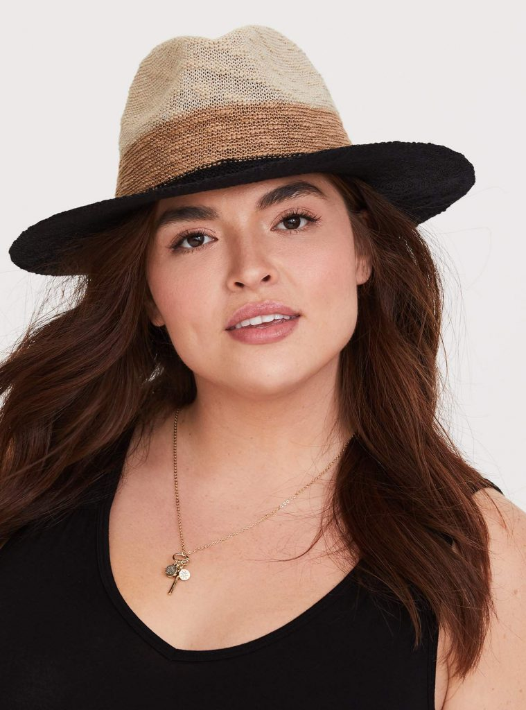 Hats for Big Hair and Big Heads- Colorblocked Panama Hat