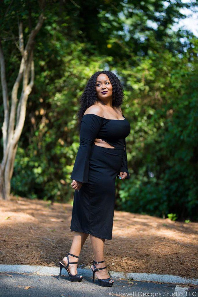 Marie Denee in Premme Plus Size Little Black Dress