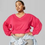 Wild Fable in Plus Sizes at Target- ild Fable Women's Plus Size Cropped V-Neck Sweatshirt