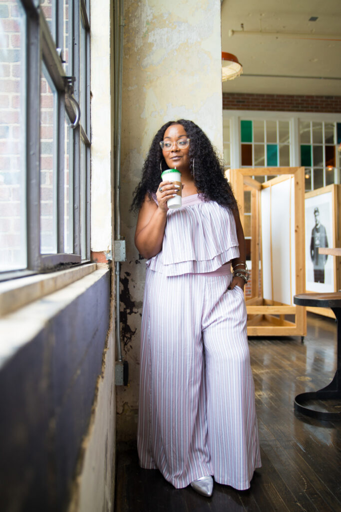 Creator of The Curvy Fashionista in Soncy Plus Size Matching Crop Top and Wide Leg Pants Set