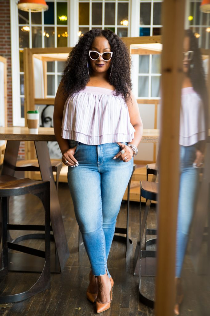 Marie Denee from The Curvy Fashionista in Soncy Plus Size Crop Top from Matching Set