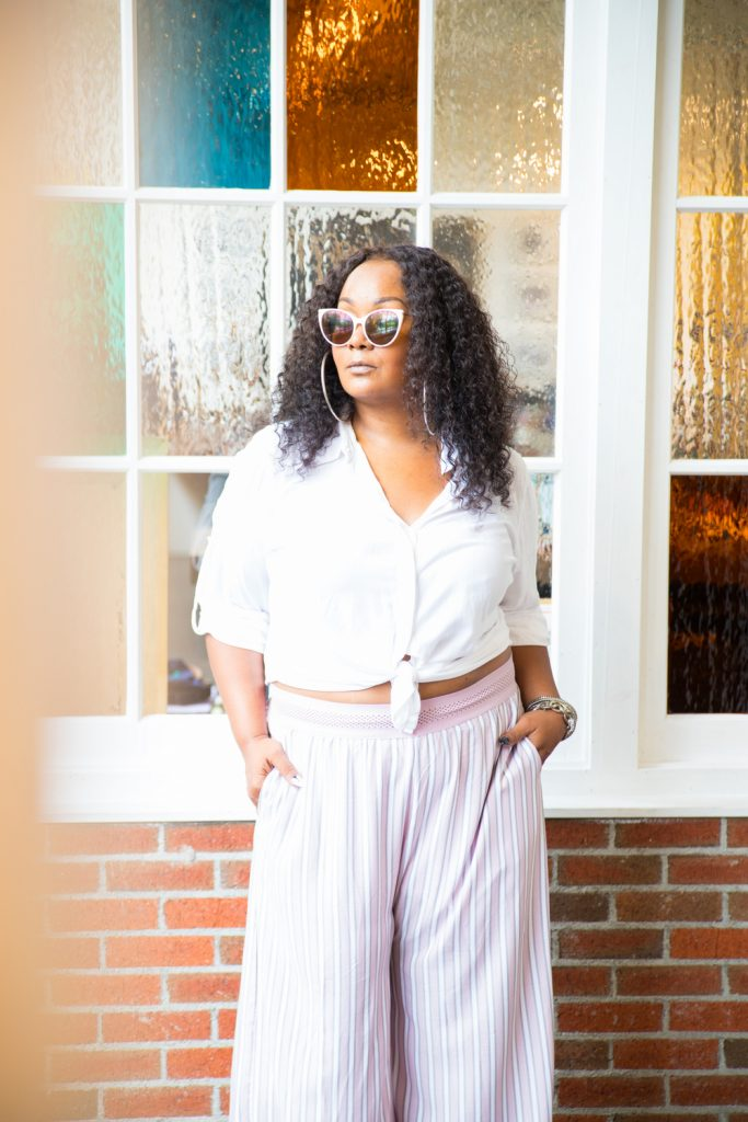 Marie Denee in Soncy Plus Size Wide Leg Pants from Matching Set