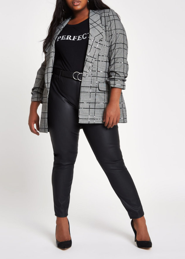 River Island Plus Size Grey Sequin Check Print Blazer