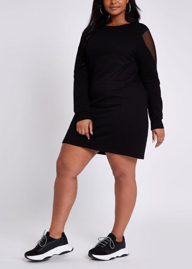 River Island Plus Size Black Mesh Long Sleeve Sweater Dress