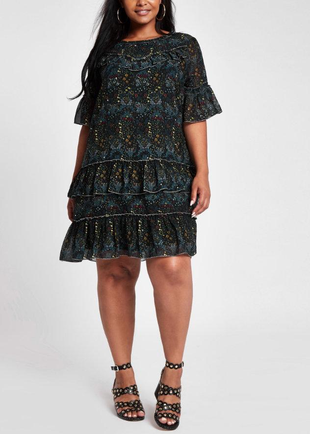 River Island Plus Size Black Floral Print Ruffle Dress