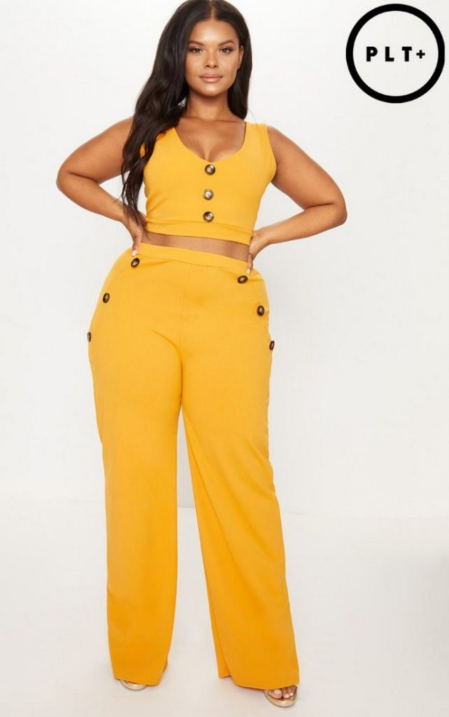 10 Affordable Plus Size Fashion Finds Under $50 - Mustard Button Detail Wide Leg Trousers