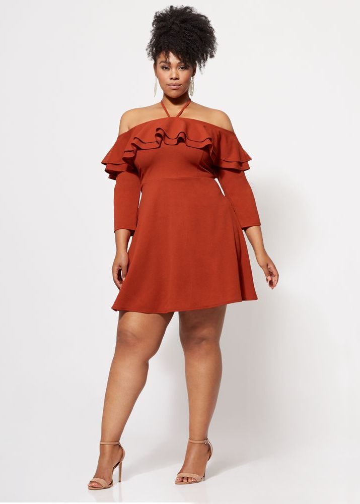 10 Affordable Plus Size Fashion Finds Under $50 - Kendall Off-Shoulder Ruffle Dress