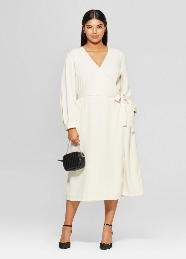 10 Affordable Plus Size Fashion Finds Under $50 - Plus Size Long Sleeve Wrap Midi Dress