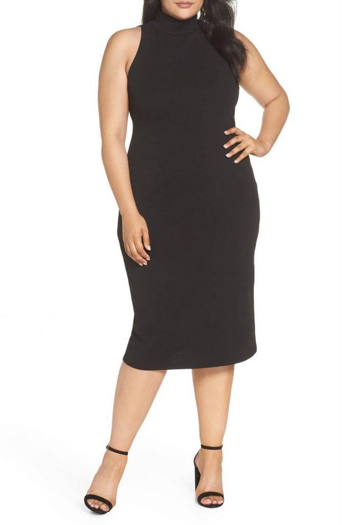 Leith Plus Size Mock Neck Body-Con Dress