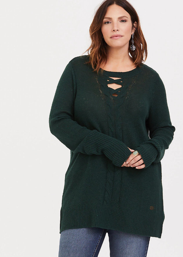 Cute Plus Size Sweaters for Fall-Outlander Green Cable Knit Tunic