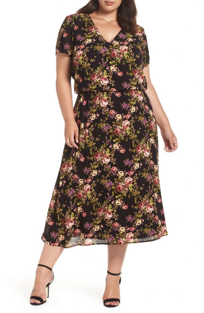Wayf Plus Size Blouson Midi Dress