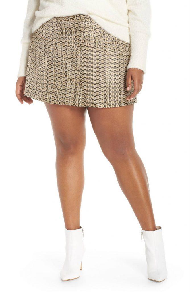 Wayf Plus Size Pelham Button Front Miniskirt