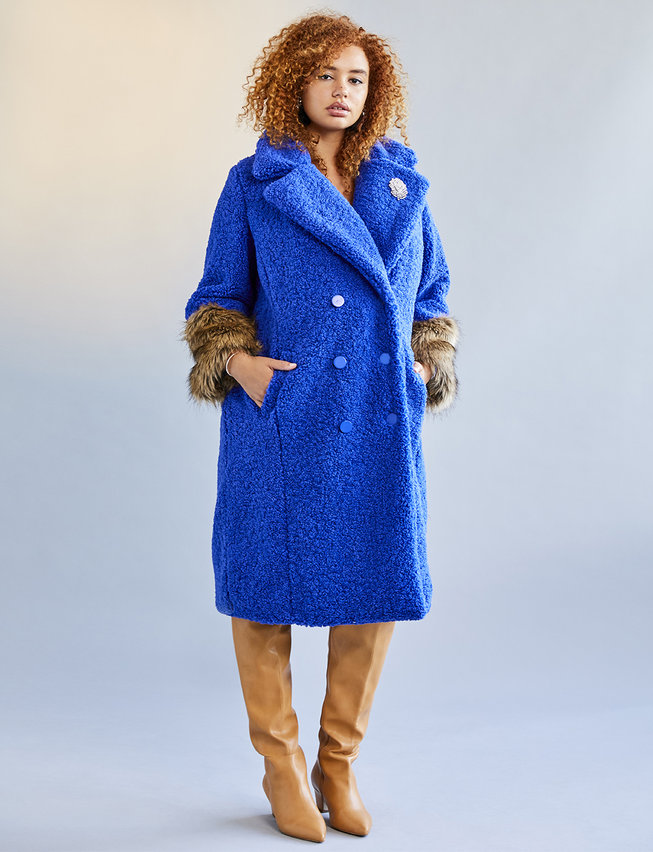 Eloquii Plus Size Boucle Coat With Fur Cuffs