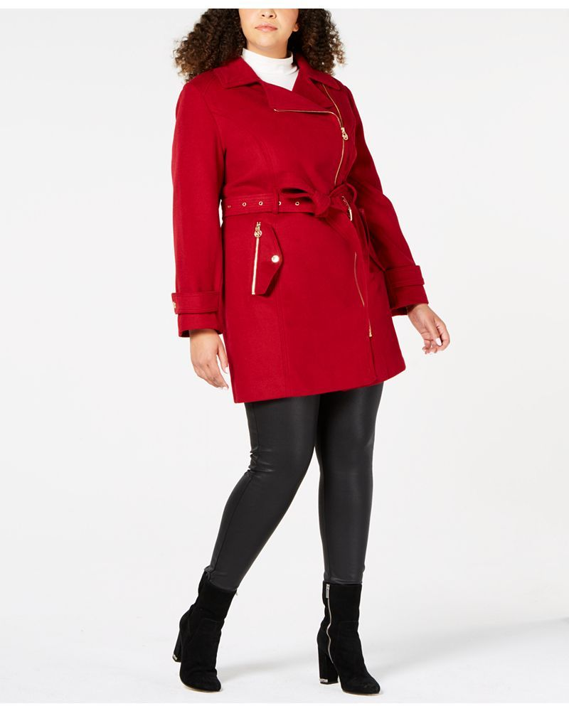 Fall's Bold Hued and Non Black Plus Size Coats to rock- MICHAEL Michael Kors Plus Size Asymmetrical Belted Coat