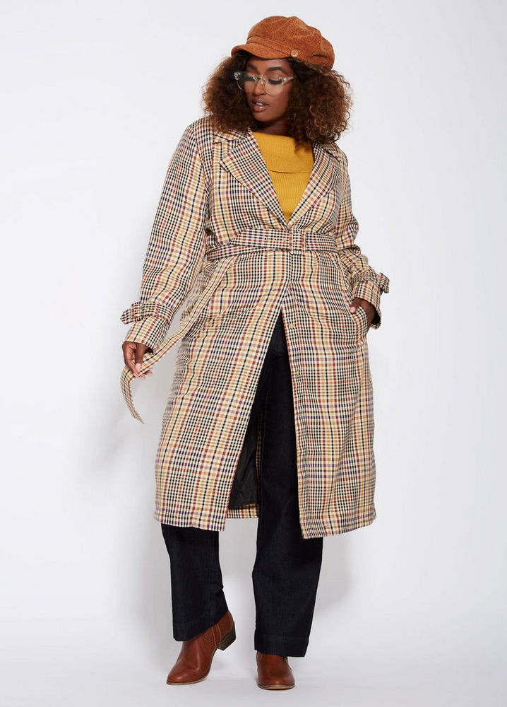 Fall's Bold Hued and Non Black Plus Size Coats to rock- Menswear Plaid Plus Size Belted Trench