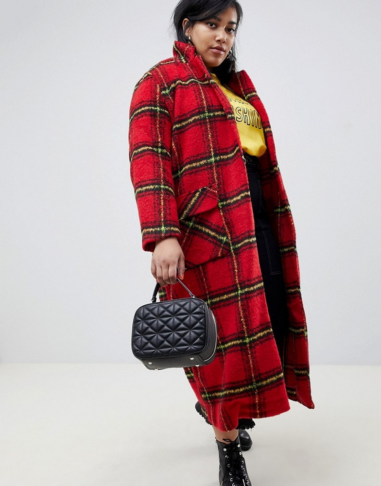 Fall's Bold Hued and Non Black Plus Size Coats to rock- Glamorous Curve longline coat in bright check