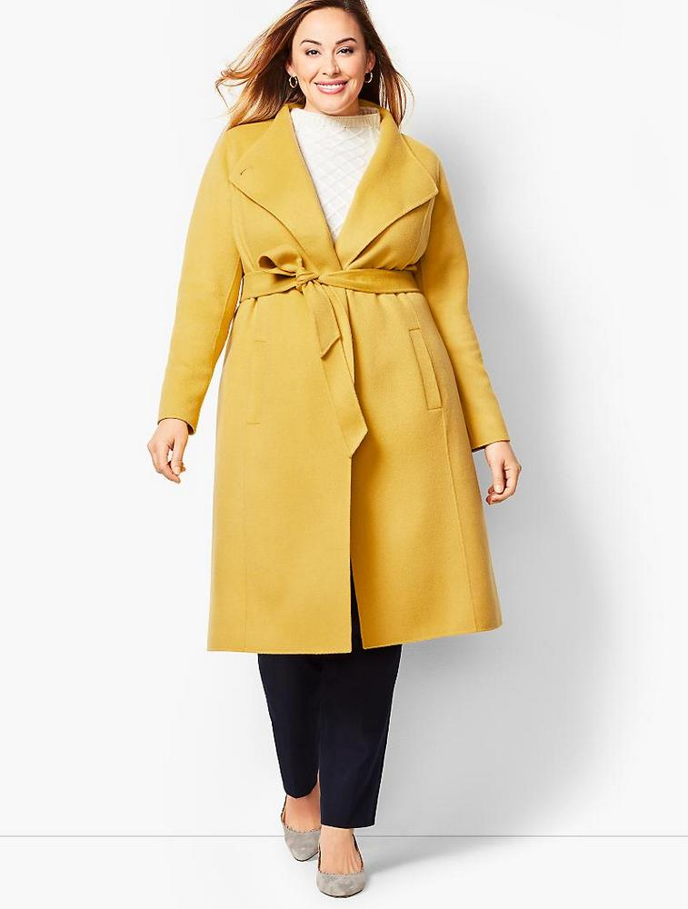 Fall's Bold Hued and Non Black Plus Size Coats to rock- Double-Face Wool Belted Coat