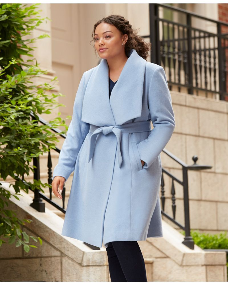 Fall's Bold Hued and Non Black Plus Size Coats to rock- Cole Haan Plus Size Belted Wool Wrap Coat