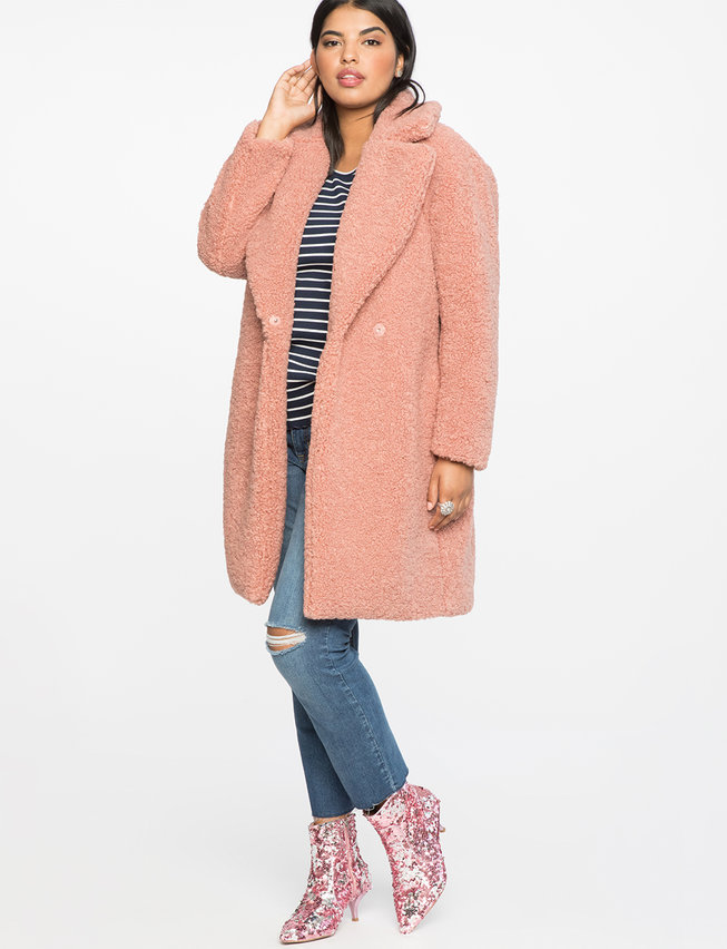 Fall's Bold Hued and Non Black Plus Size Coats to rock- Boucle Teddy Coat