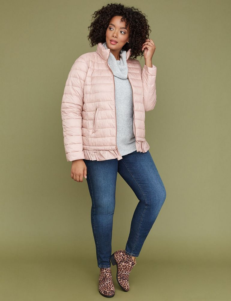 Fall's Bold Hued and Non Black Plus Size Coats to rock- Blush Peplum Packable Puffer Jacket at Lane Bryant