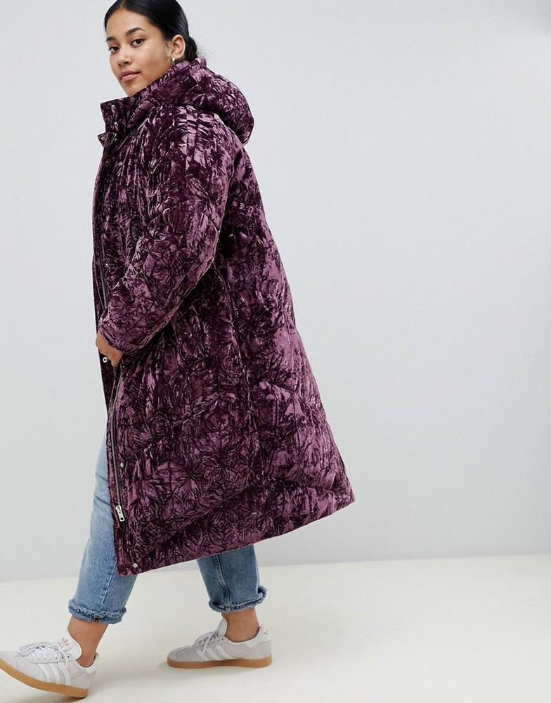 Fall's Bold Hued and Non Black Plus Size Coats to rock-ASOS DESIGN Curve longline velvet padded jacket