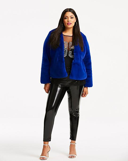 Fall's Bold Hued and Non Black Plus Size Coats to rock-Short Plus Size Faux Fur Coat